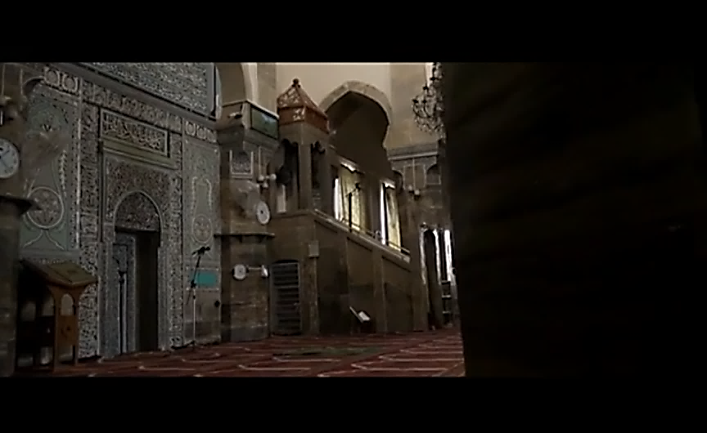 The final image of the ISIS video: a photo from the Great Mosque of Mosul, where ISIS leader Abu Bakr al-Baghdadi announced the establishment of ISIS's caliphate in June 2014.
