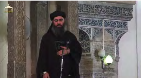 Abu Bakr al-Baghdadi delivering a sermon at the Great Mosque in Mosul (YouTube, July 5, 2014)