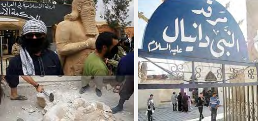 Right: The tomb of Daniel the Prophet in the Mosul region before being blown up by ISIS (youm7.com) Left: The destruction of ancient statues in Iraq, cultural treasures dating from the beginnings of human civilization (islamist-movements.com)