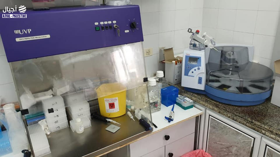 The central laboratory in the Gaza Strip, disabled until the receipt of test materials from the W.H.O. (ajyal.fm Facebook page, December 7, 2020).