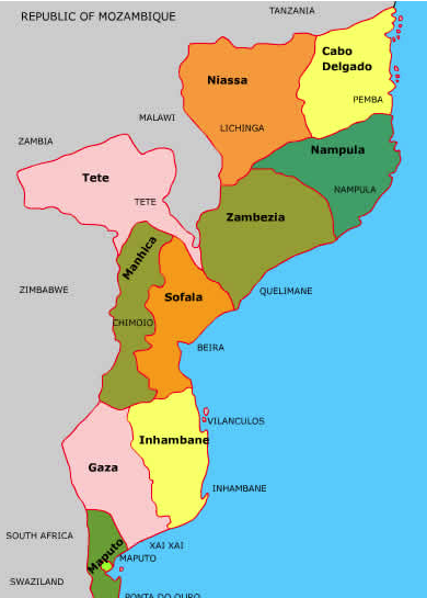 Map of the provinces of Mozambique. The epicenters are the provinces in the north and northeast of the country (www.mozambiquehappenings)