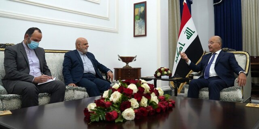 The meeting between the Iraqi president with the Iranian ambassador to Baghdad (ISNA, December 2, 2020)