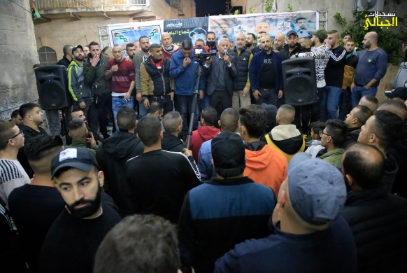 Mass reception held in the Jenin refugee camp for Fares Muhammad Muslih Amarna, released from an Israeli jail after serving a term of 15 yeas (Facebook page of Aljabaly Recordings, December 10, 2020).