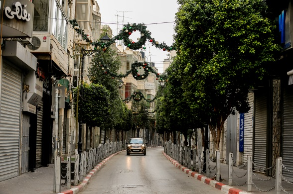 The streets in Ramallah during the lockdown imposed over the weekend (Wafa, December 12, 2020).
