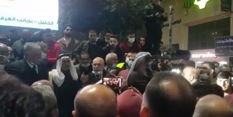A protest demonstration held by the heads of the clans and businessmen in the city of Hebron against the Palestinian government decision to impose a week-long general lockdown on the district (Dunia al-Watan, December 8, 2020)