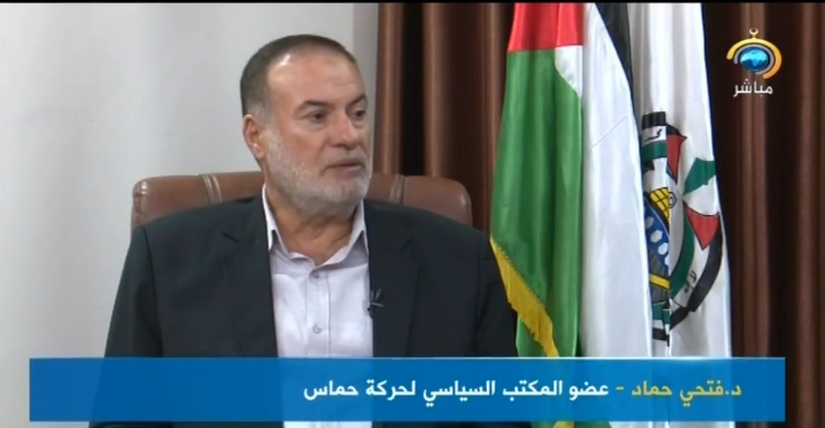 Fathi Hamad, a member of Hamas' political bureau, interviewed by al-Aqsa TV for the 33rd anniversary of the founding of Hamas (Shehab Facebook page, December 12, 2020).