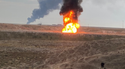 The two wells in the Khabbaz oilfield in flames (Al-Naba' weekly, Telegram, December 10, 2020)