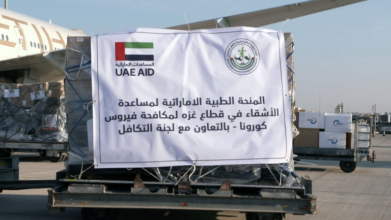 Aid for the Gaza Strip from loaded onto a UAE plane (UAE News Agency, December 16, 2020).