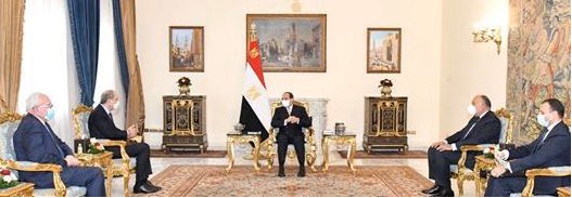 The meeting in Cairo (Twitter account of Ayman al-Safadi, the Jordanian foreign minister, December 19, 2020).