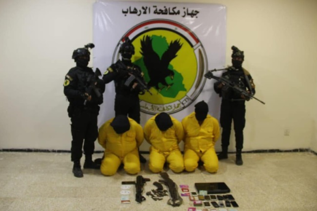Three ISIS operatives detained by the Iraqi Counterterrorism Apparatus (Facebook page of the Iraqi Counterterrorism Unit, December 19, 2020)