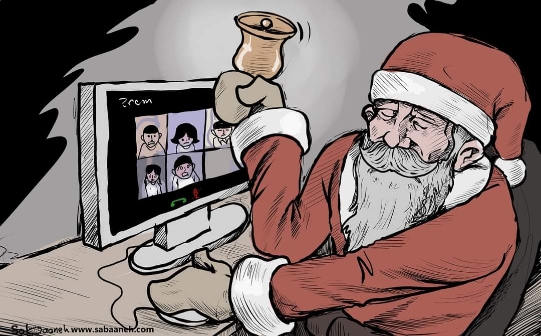 This year Santa's sleigh has been replaced by Zoom (Twitter account of Muhammad Sabaaneh, December 26, 2020).