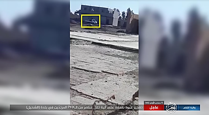 Vehicle (a white van) carrying SDF fighters before it was hit by an IED in the village of Shahil, north of Al-Mayadeen.