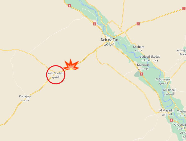 Site of the attack against the bus near Ash-Shola (Google Maps)