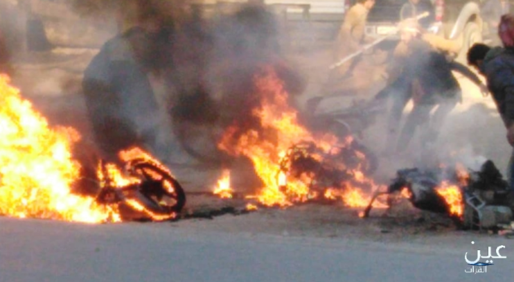 Several motorcycles burning after being set on fire by the SDF in the village of Shahil, north of Al-Mayadeen, due to the violation of the ban on the use of motorcycles (Ayn al-Furat, eyeofeuphrates.com, December 27, 2020)