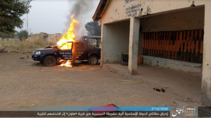 Nigerian police vehicle set on fire by ISIS.