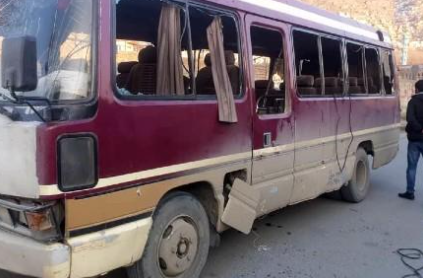 The bus targeted by an ISIS IED in Kabul (TOLO News, Afghan news website, Kabul, December 28, 2020)