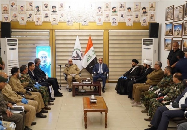 The visit of the Iraqi prime minister to the headquarters of the Shia militias in Baghdad (Tasnim, May 16, 2020).
