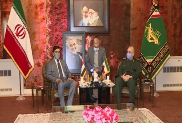 The meeting of the Iraqi minister of defense with the commander of the IRGC (Tasnim, November 15, 2020).