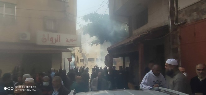 Worshippers in Qalqilya affiliated with the Liberation Party hold the Friday prayer and are later dispersed by the Palestinian police, who use tear gas canisters (Facebook page of the media office of the Liberation Party in Palestine, January 1, 2021).