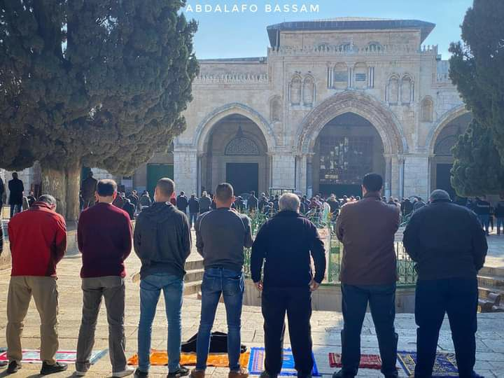 Worshippers on the Temple Mount in the wake of restrictions put in place by the Israeli police, which permitted the entrance of only 3,000 worshippers into the compound.
