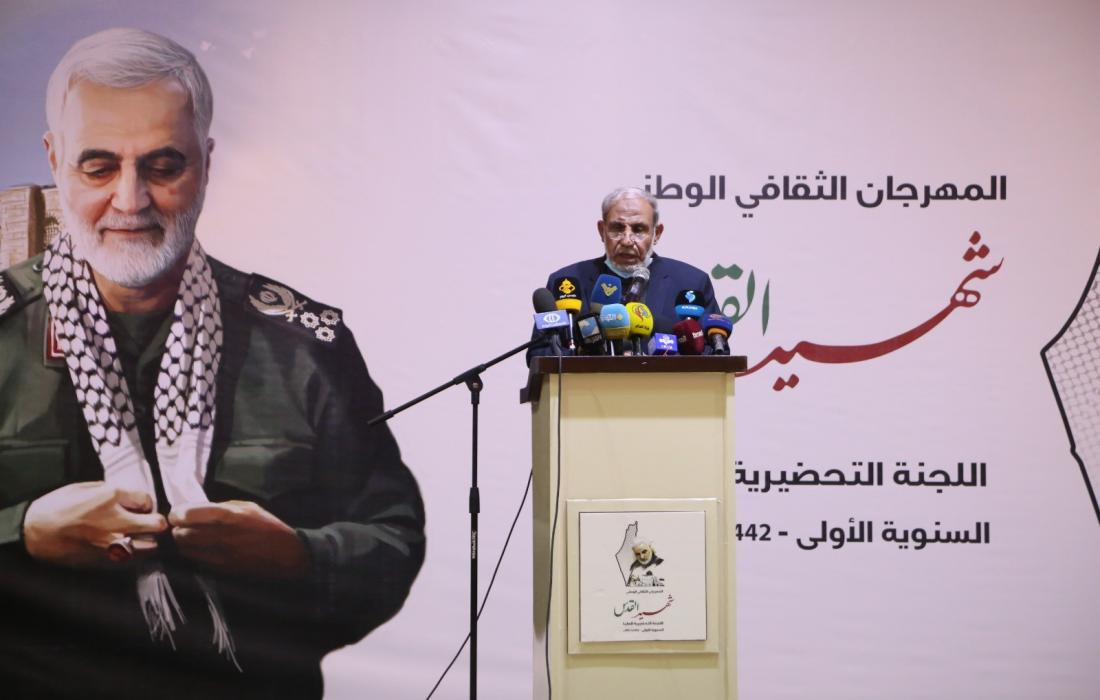Senior Hamas figure Mahmoud al-Zahar (right) and senior PIJ figure Khaled al-Batash (left) give speeches during an event in Gaza Strip to mark the anniversary of the targeted killing of Qassem Soleimani (Paltoday, January 4, 2021).