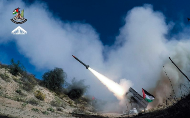 Battery of rockets fired during the joint exercise.