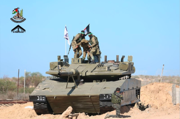 Simulation of terrorist operatives storming an Israeli tank and abducting an IDF soldier.