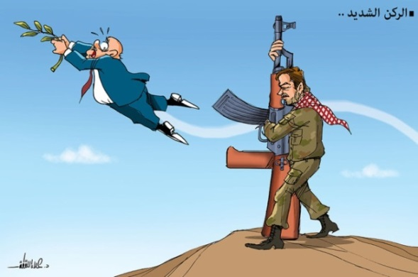 Cartoon by Hamas-affiliated Alaa al-Laqta: the best option is the weapons of the armed struggle, not the peace process (Alaa' al-Laqta's Facebook page, December 29, 2020).