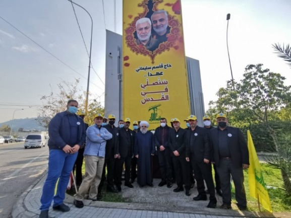 Ceremony placing the pictures of Qassem Soleimani and Abu Mahdi al-Muhandas at the southern entrance to Sidon (saida.net website, January 3. 2021).
