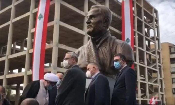 The unveiling of a statue of Qassem Soleimani on the street named for him by the municipality of al-Ghobeiry (IMLebanon, January 5, 2021, from an MTV video).