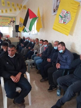 The mourning tent opened in Bayt Umar. The wall is draped with a Fatah flag and the event took place despite the PA ban on gatherings (Facebook page of KalandiaMC1948, January 6, 2021).