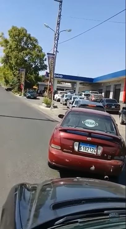 "Long line of cars waiting for gas at a gas station in the village of Haris, in southern Lebanon. According to the person who posted the video on Facebook, gas stations will only sell gas for a minimum price of LBP 15,000 (""Where is the State?"" Facebook page, September 28, 2020)."