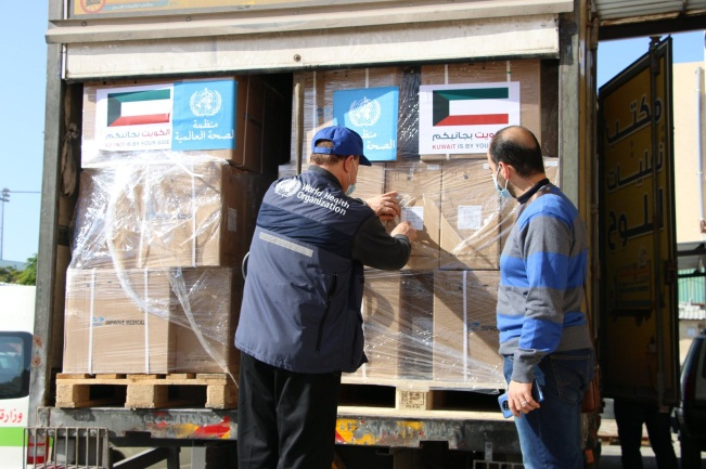 Boxes of tests arrive in the Gaza Strip (Facebook page of the W.H.O. legation in the territories, January 14, 2021).