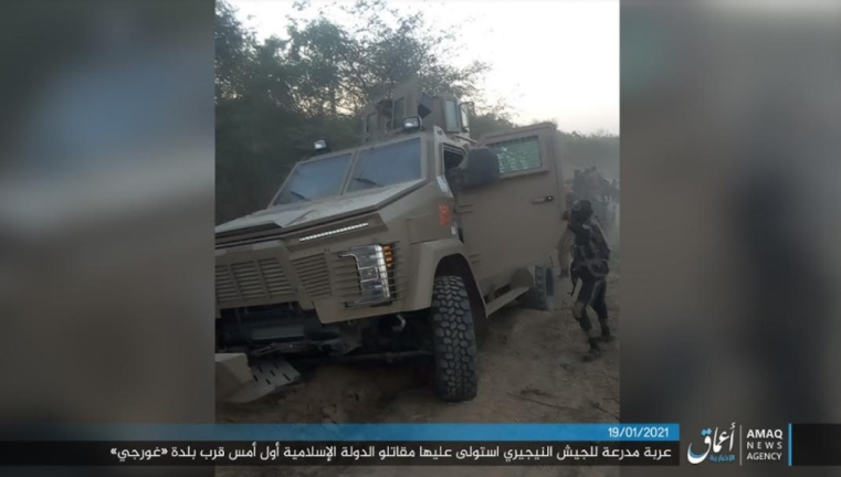 Nigerian army armored vehicle seized by ISIS and then set on fire (Telegram, January 19, 2021)