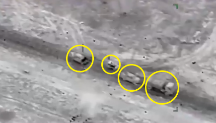 Four ISIS vehicles moments before being destroyed in an airstrike by Nigerian Air Force combat helicopters on the outskirts of Marte.