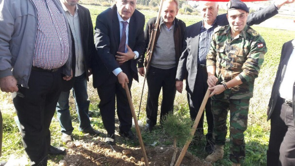 Planting trees on the border with Israel close to Al-Khiyam on the initiative of Jihad al-Bina and the Al-Khiyam municipality (Lebanese News Agency, December 3, 2017). Amal movement MP Qassem Hashem is seen on the picture.