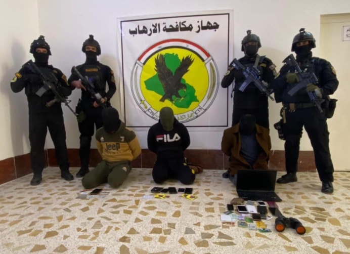 Three ISIS operatives apprehended in the Hit region (Facebook page of the Iraqi Counter Terrorism Service, ICTS, January 24, 2021)