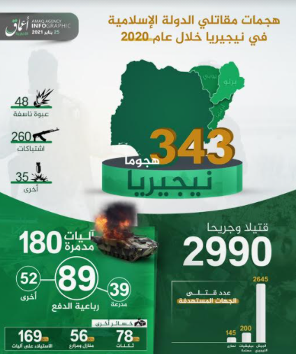 Infographic summing up ISIS's activity in Nigeria in 2020 (Telegram, January 25, 2021)