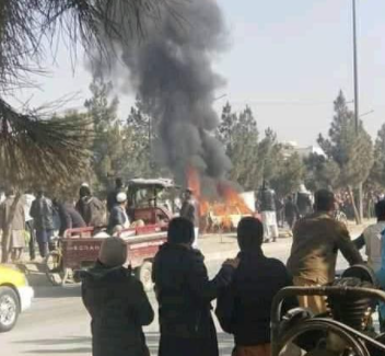 Vehicle apparently belonging to an Afghan intelligence official going up in flames in the city of Kabul after a sticky bomb was activated (Khaama Press, January 26, 2021)