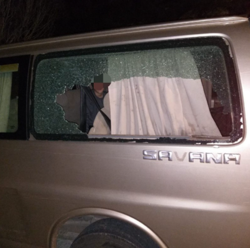 Window of a vehicle broken in Tekoa (Rescue Without Borders in Judea and Samaria, January 31, 2021).