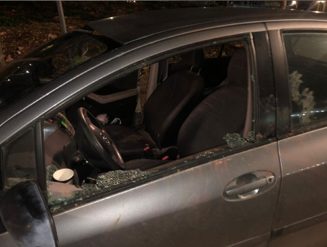Damage caused by stones thrown at Israeli vehicles (Rescue Without Borders in Judea and Samaria, January 28, 2021).