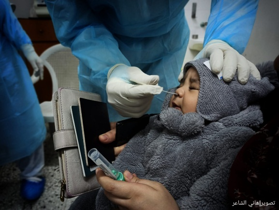 Covid-19 test before leaving the Gaza Strip (Palinfo Twitter account, January 31, 2021).