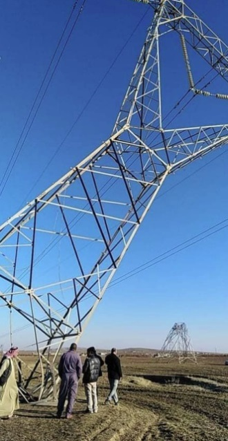 Two of the high-voltage pylons that were hit (Facebook page of the Iraqi Ministry of Electricity, January 24, 2021)