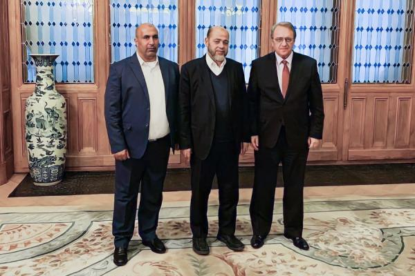The Hamas delegation, headed by Musa Abu Marzouq (center) meets with Mikhail Bogdanov, the Russian foreign minister (far right) (Hamas website, February 4, 2021).