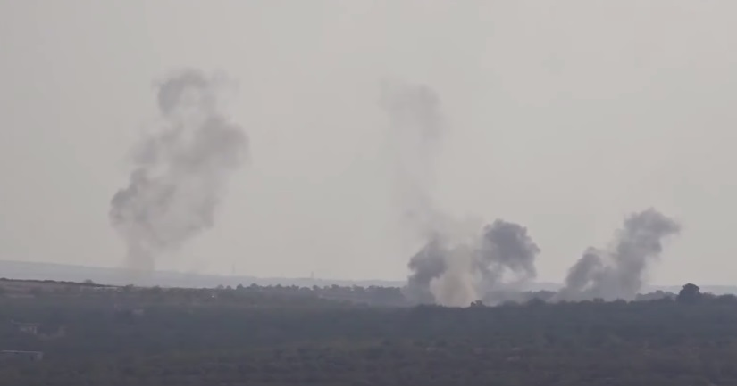 Artillery fire by the Syrian army at the southern part of the rebel enclave in Idlib (Syria TV opposition channel, February 8, 2021)