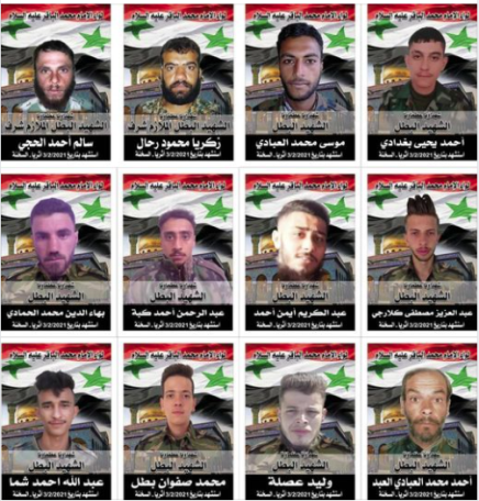 The 12 fatalities of the Imam al-Baqer Brigade (Facebook page of the Al-Abbas Battalion of the Imam Al-Baqer Brigade, February 3, 2021)
