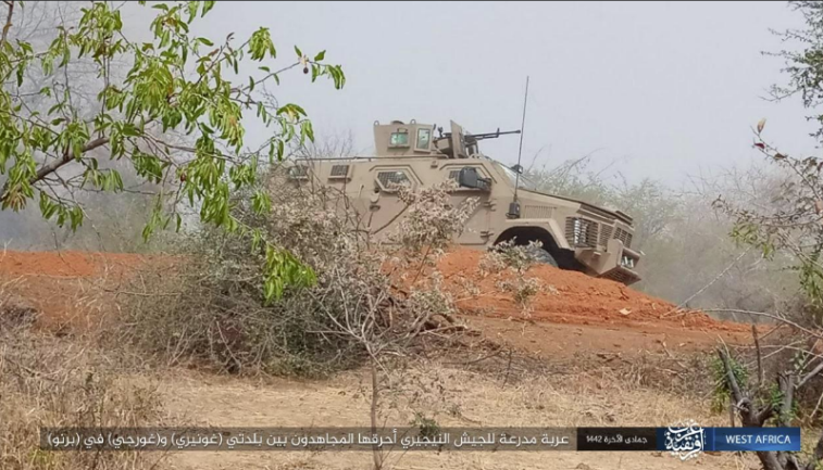 Nigerian army armored vehicle that fell into the hands of ISIS operatives. ISIS set the vehicle on fire.