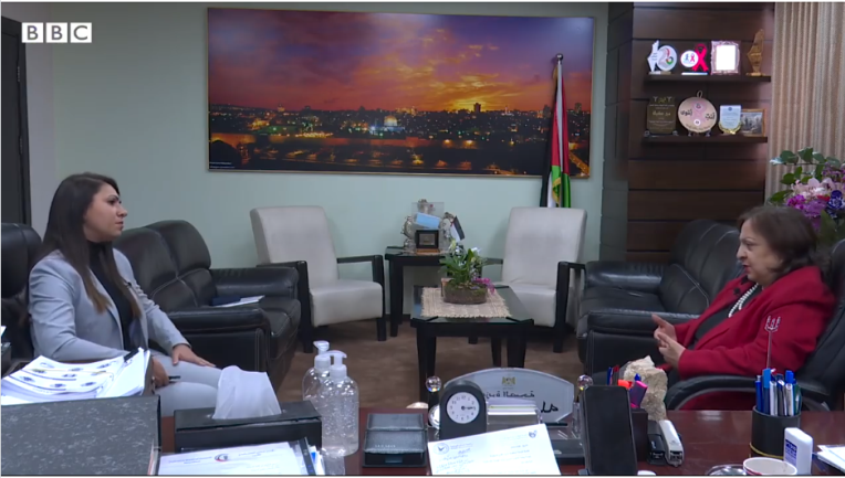 Mai al-Kayla, PA minister of health, right, in an interview (Facebook page of the ministry of health in Ramallah, February 16, 2021).
