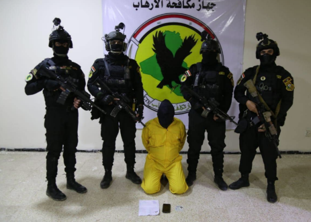 One of the four apprehended squad members (Facebook page of Iraqi Armed Forces Spokesman Yahya Rasoul, February 12, 2021)