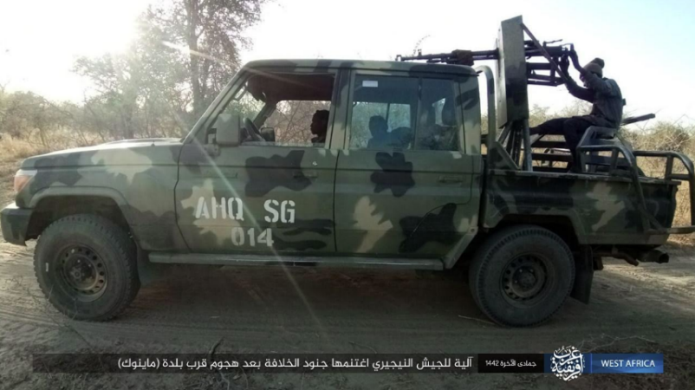 Vehicle seized by ISIS operatives in the attack (Telegram, February 11, 2021)